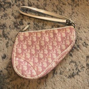 Dior Pink and White Vintage Mini Saddle Bag